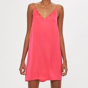 TOPSHOP Pink Scallop Mini Slip Dress V-Neck